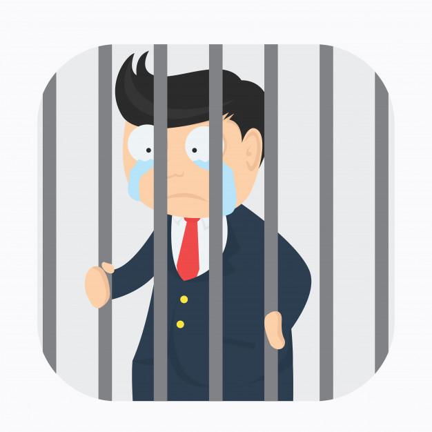 Desenho empresário de terno preso chorando